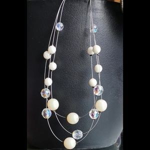Host Pick Floating Pearl Crystal Station Necklace